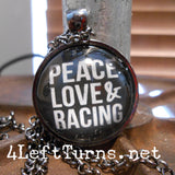 Peace Love Racing Necklace, Racing Jewelry, 4 Left Turns
