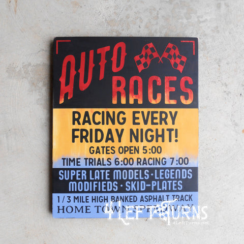 Vintage Speedway Poster Painted Wood Sign