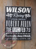 Racing-Themed Baby Announcement Hand Painted Wood Sign - Wood Sign - 4 Left Turns - 2