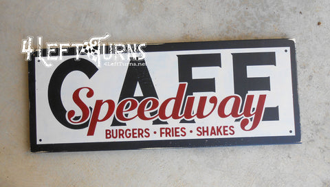 Speedway Cafe Wood Sign
