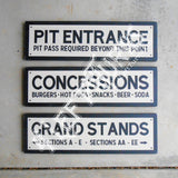 Vintage Speedway Concession Grandstand Pit Wood Sign