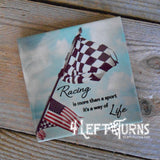Individual Racing Themed Beverage Coaster with Stand