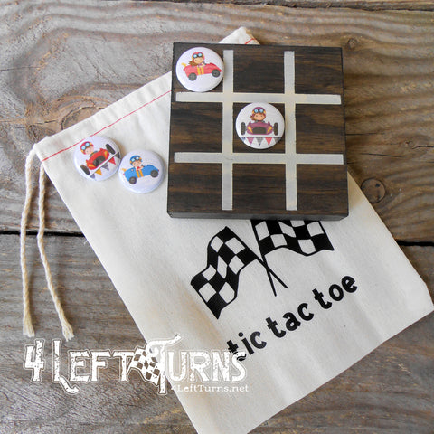Racing Themed Tic Tac Toe Game with Painted Wood Board