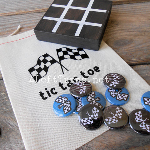 Racing Themed Tic Tac Toe Game Painted Wood
