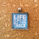 Life is Better at the Track Necklace, Racing Jewelry, 4 Left Turns