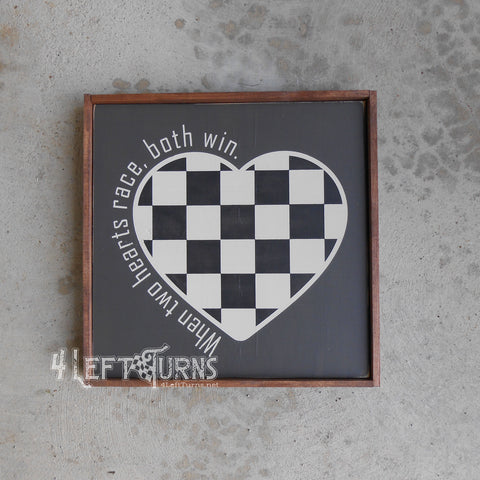 When Two Hearts Race Checkered Heart Painted Wood Sign