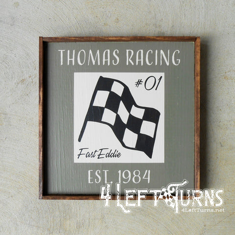 Vintage Look Personalized Race Team Established Painted Wood Sign Checkered Flag