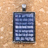 We Do Racing Necklace, Racing Jewelry, 4 Left Turns