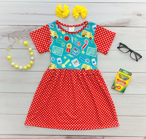 """Love to Learn"" Polka Dot School Dress"