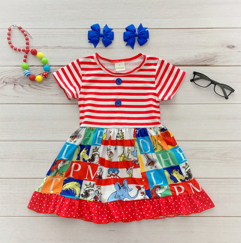 SHORT SLEEVE Dr. Seuss Panel Dress {Limited}