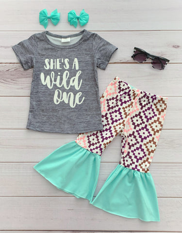 """She's a Wild One"" Bell Bottom Pant Set"