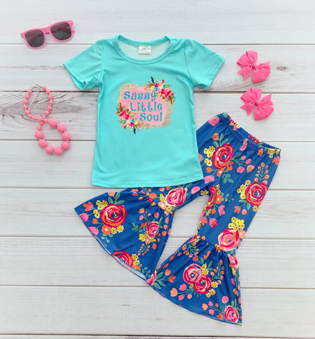 """Sassy Little Soul"" Bell Bottom Pant Set"