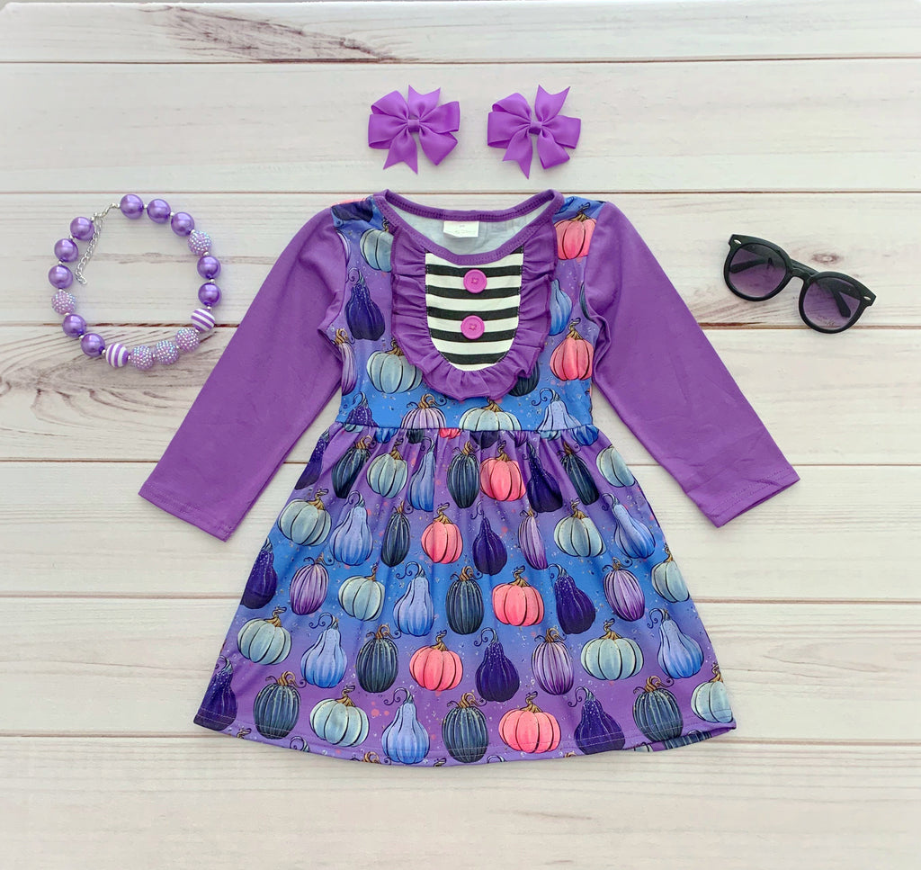 Purple Pumpkin Fall Boutique Dress