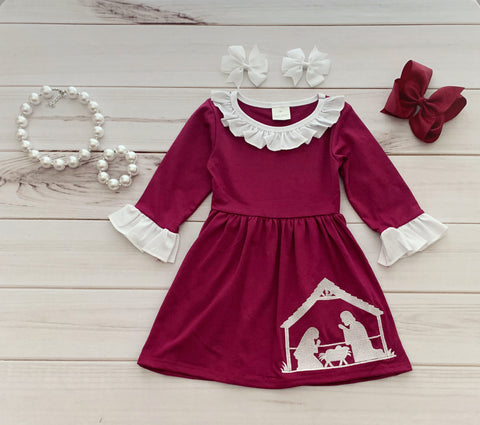 """Away in a Manger"" Nativity Dress - Burgundy {EXCLUSIVE}"