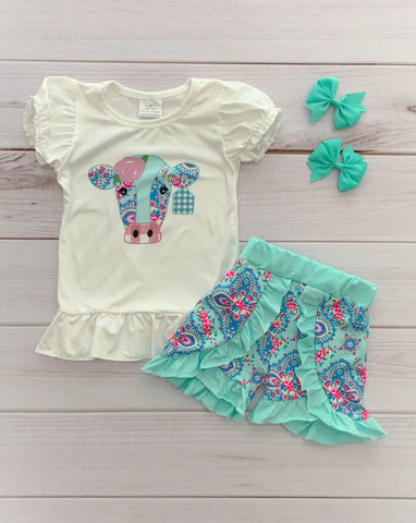 Aqua Cow Boutique Short Set