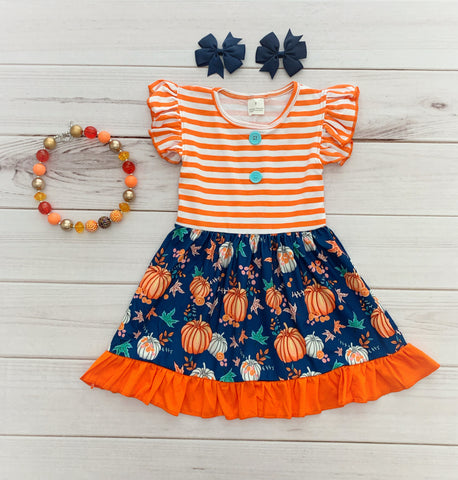 Pumpkin Patch Boutique Dress - stripes
