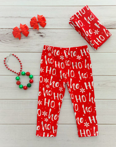 """Ho Ho Ho"" Pants & Scarf Set"