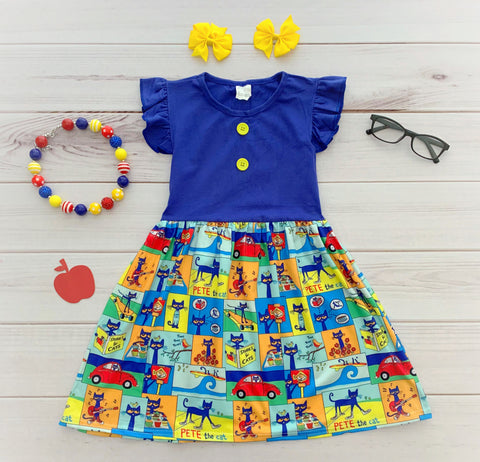 "EXCLUSIVE! ""Pete The Cat"" Boutique Dress {LIMITED}"
