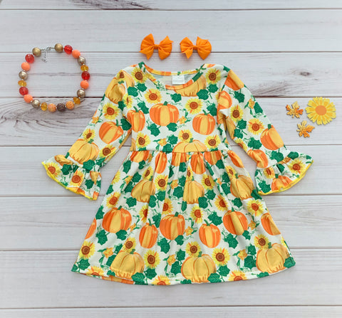 Pumpkin Sunflower Boutique Dress