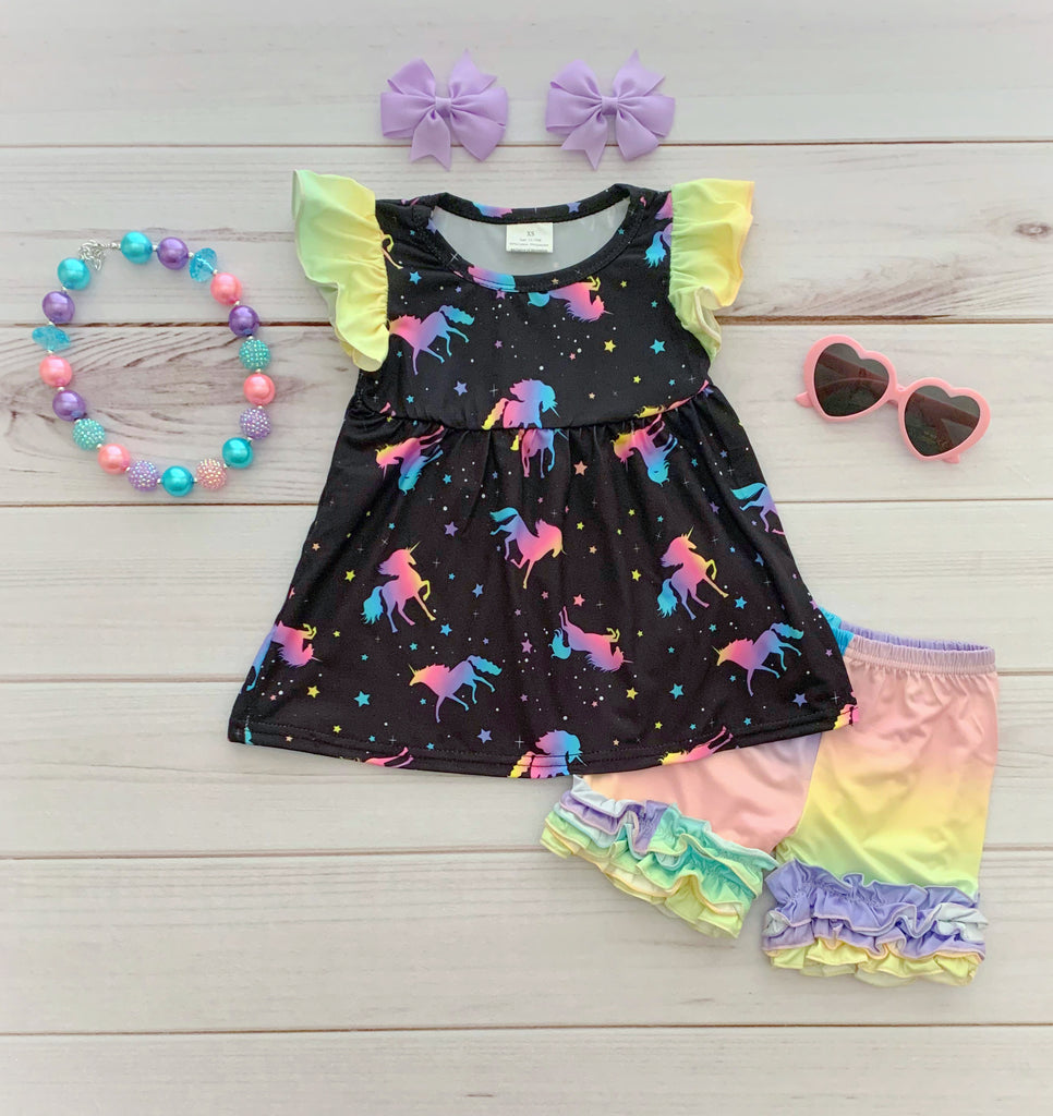 Pastel Unicorn Short Set