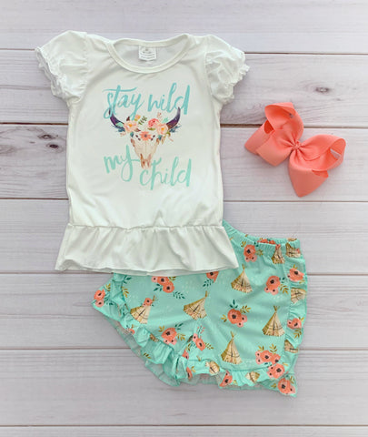 """Stay Wild My Child"" Boutique Short Set"