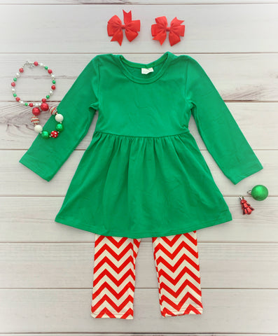 Green/Red Christmas Chevron Pant Set