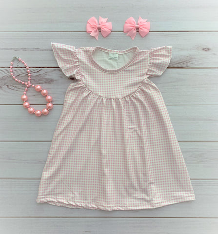 Pink/White Gingham Pearl Dress