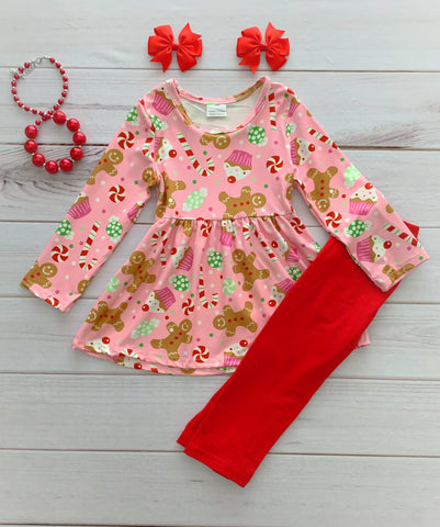 Pink/Red Gingerbread Pant Set