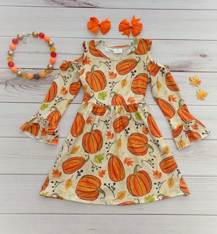 Cold Shoulder Pumpkin Dress