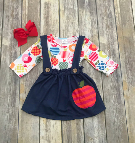 Apple Suspender Skirt Set
