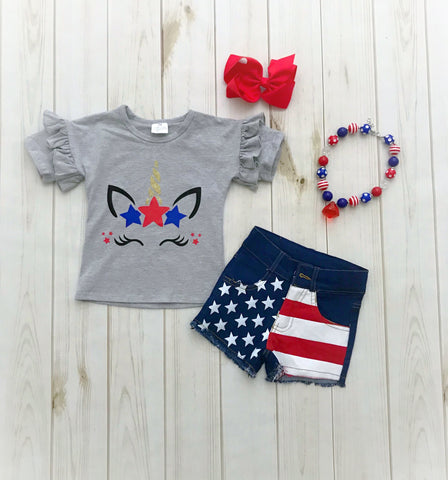 Patriotic Unicorn Denim Short Set
