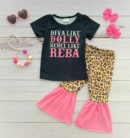 """Diva like Dolly, Rebel like Reba"" Bell Bottom Pant Set"