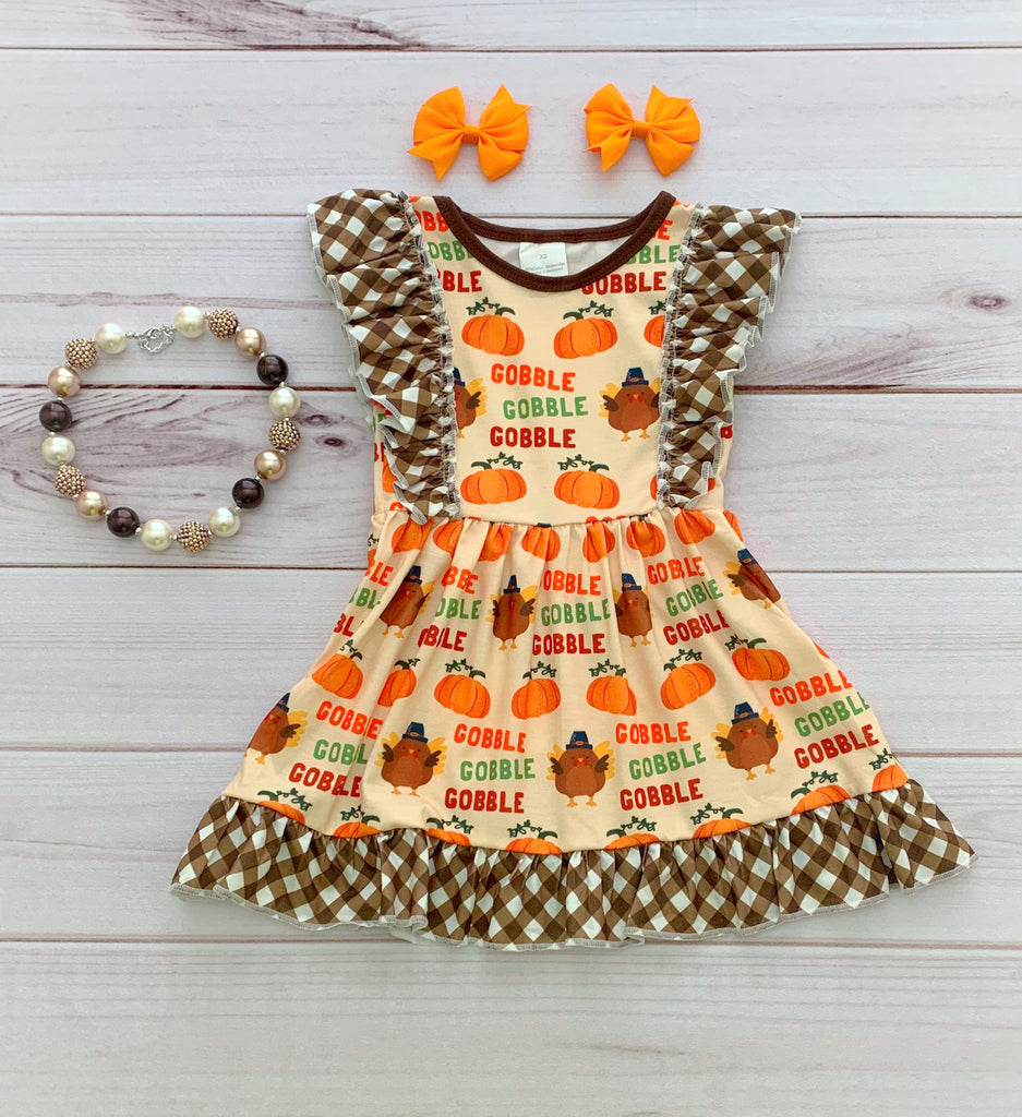 Gobble Gobble Thanksgiving Flutter Dress