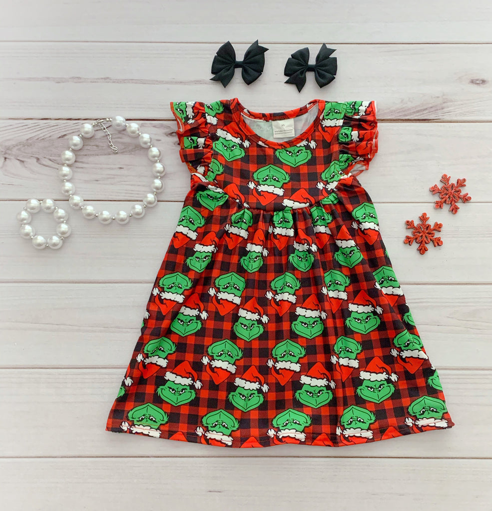 Buffalo Plaid Grinch Pearl Dress