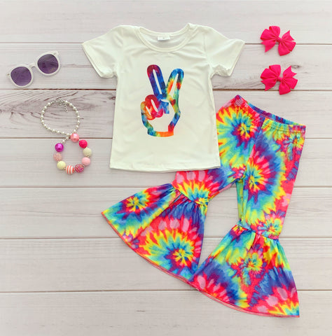 Tie-Dye Peace Bell Bottom Pant Set
