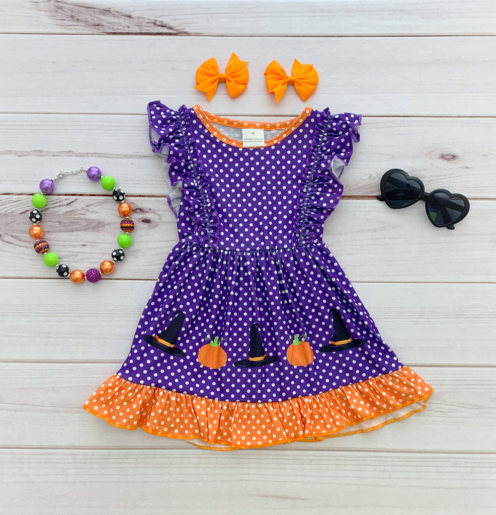 Polka Dot Halloween Flutter Dress