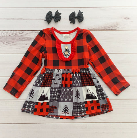 Buffalo Plaid Patch Dress
