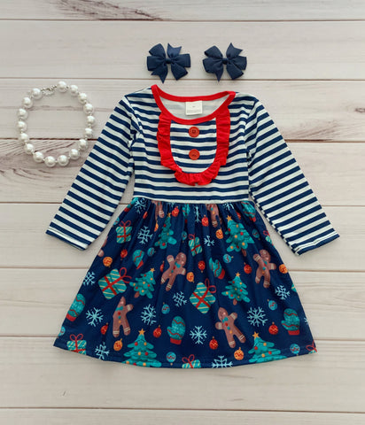 Navy Stripe Gingerbread Boutique Dress
