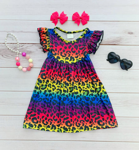 "Rainbow ""Wild Side"" Leopard Pearl Dress"