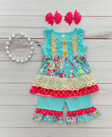 "The ""Rylee Faith"" Boutique Short Set - turquoise/hot pink {LIMITED}"