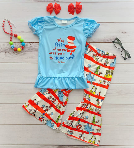 """Born to Stand Out"" Dr. Seuss Bell Bottom Pant Set"