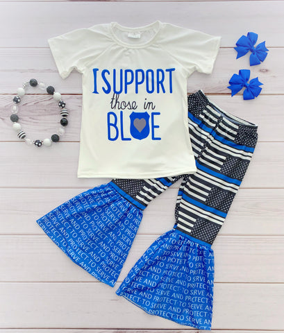 """I Support Those in Blue"" Bell Bottom Pant Set"