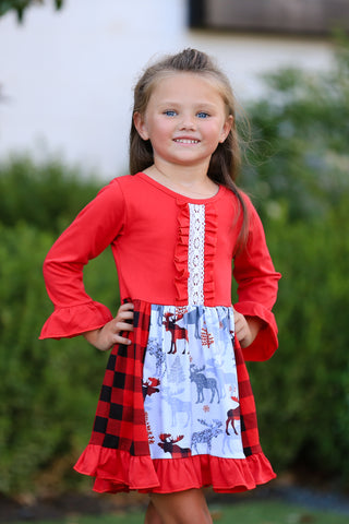 Buffalo Plaid Moose Boutique Dress {EXCLUSIVE}