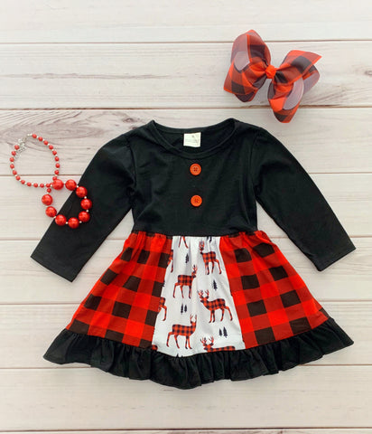 Buffalo Plaid Deer Boutique Dress