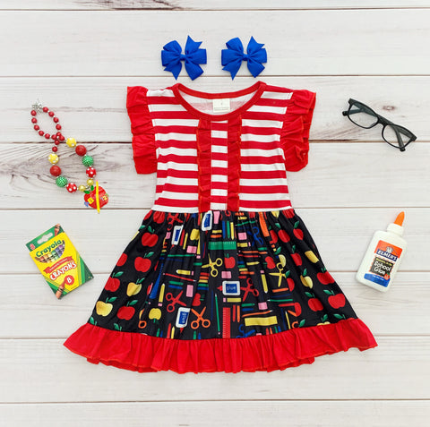 Red/White Stripe School Supplies Panel Dress