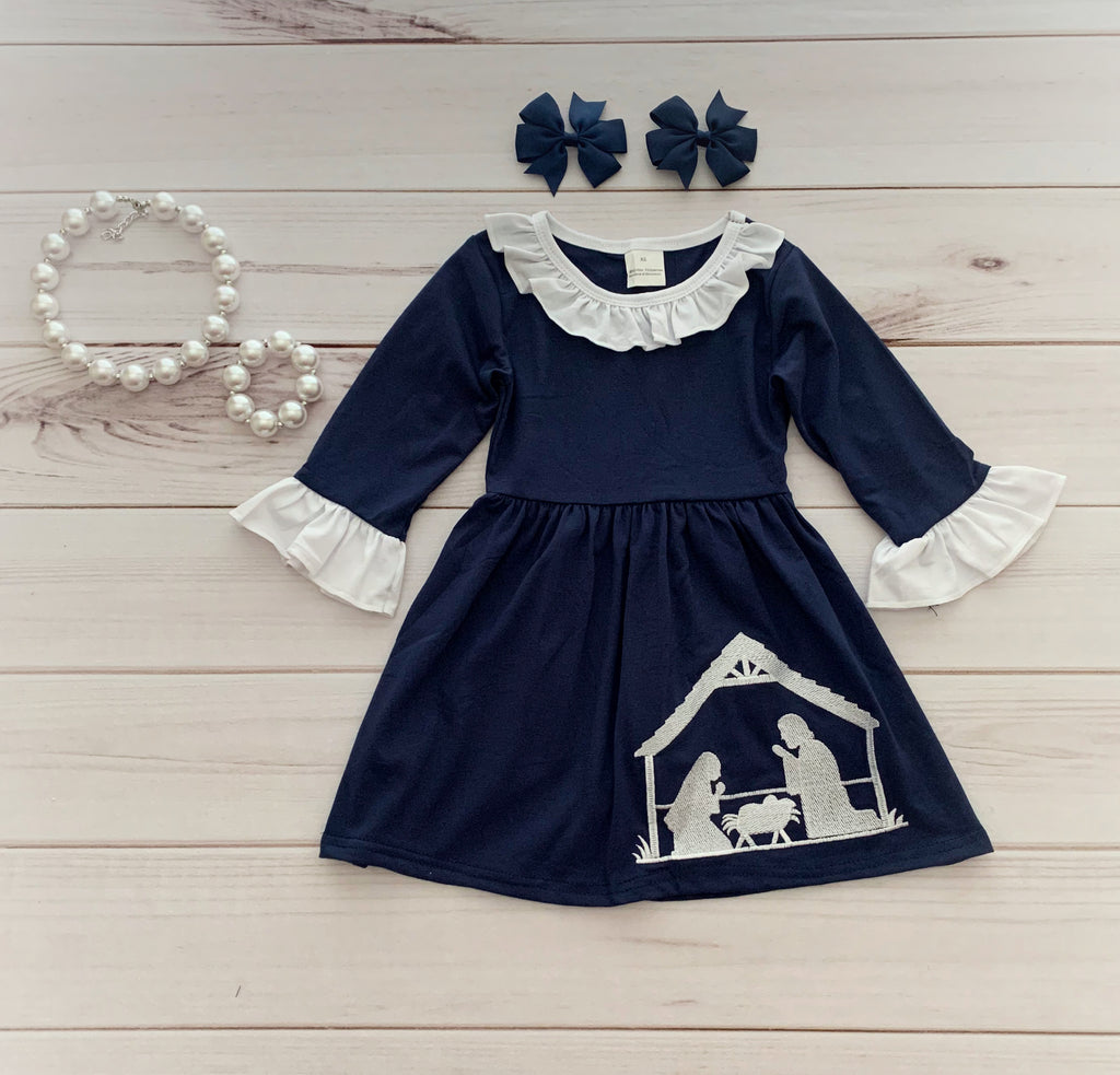 """Away in a Manger"" Nativity Dress - Navy {EXCLUSIVE}"