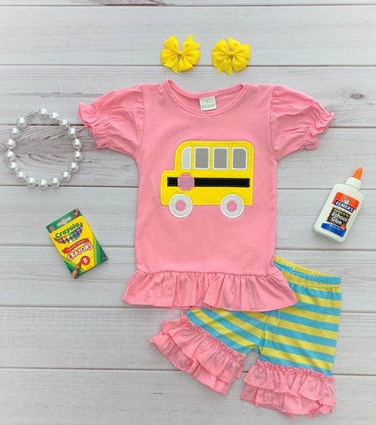 Pink School Bus Short Set