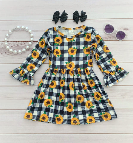 Black/White Gingham Sunflower Boutique Dress