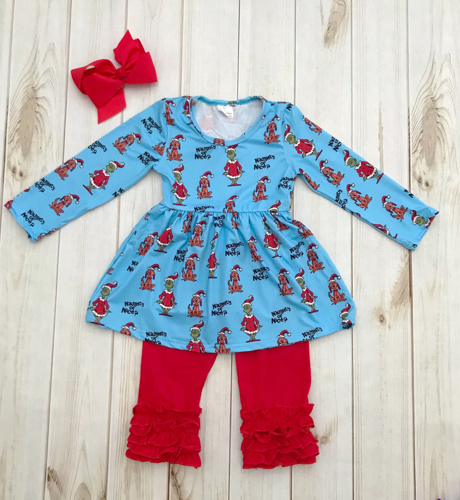 1b486384a66e The Grinch! Naughty or Nice Christmas Set, girls boutique clothing – Rylee  Faith Designs