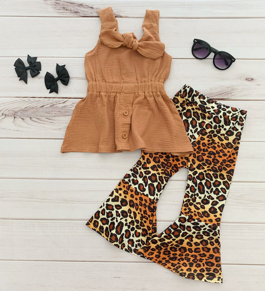 Leopard Print Bell Bottom Outfit